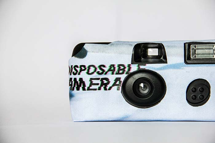 Disposable, camera, front, white, black